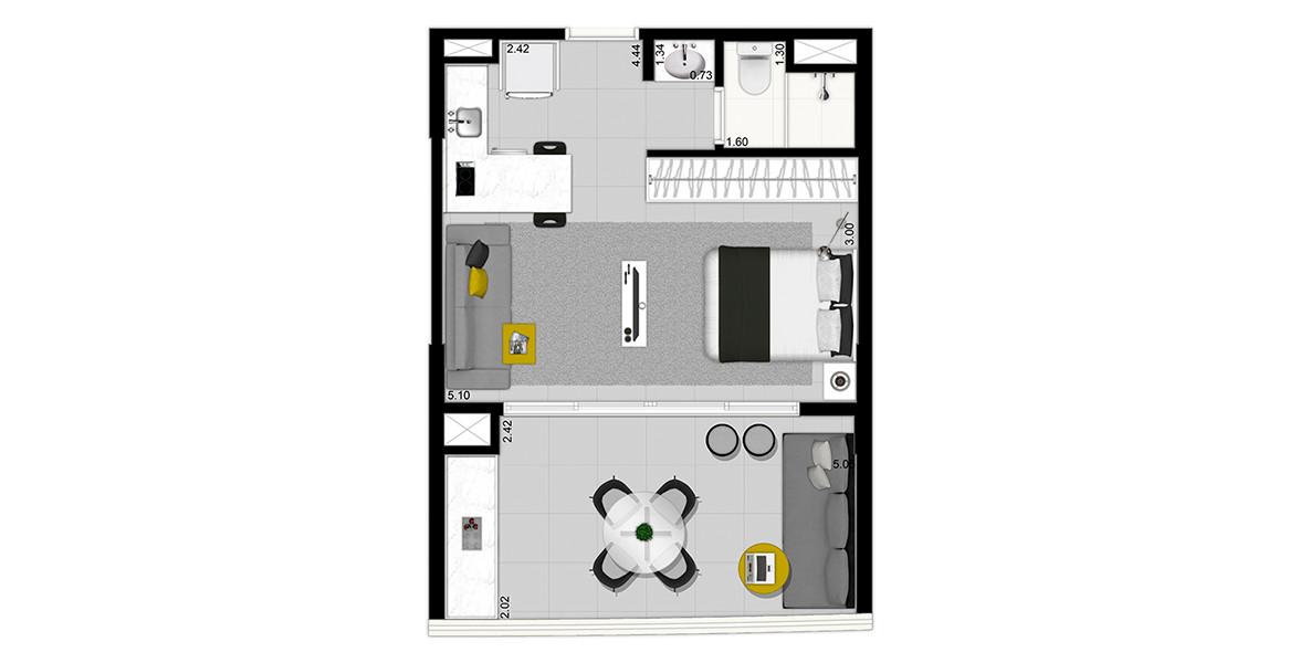 38 M² - STUDIO. Apartamento com ótimo terraço e amplo caixilho, possibilitando maior entrada de luz natural.