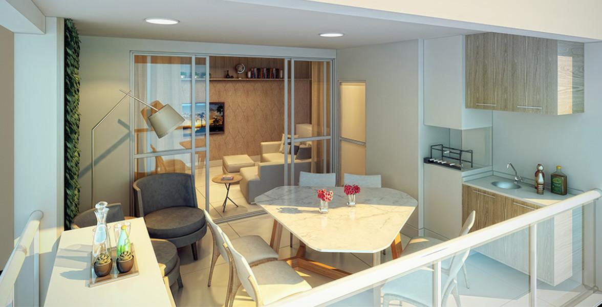 TERRAÇO GOURMET com opção de churrasqueira, guarda-corpo de vidro e integração com a cozinha do Gaivota 1081