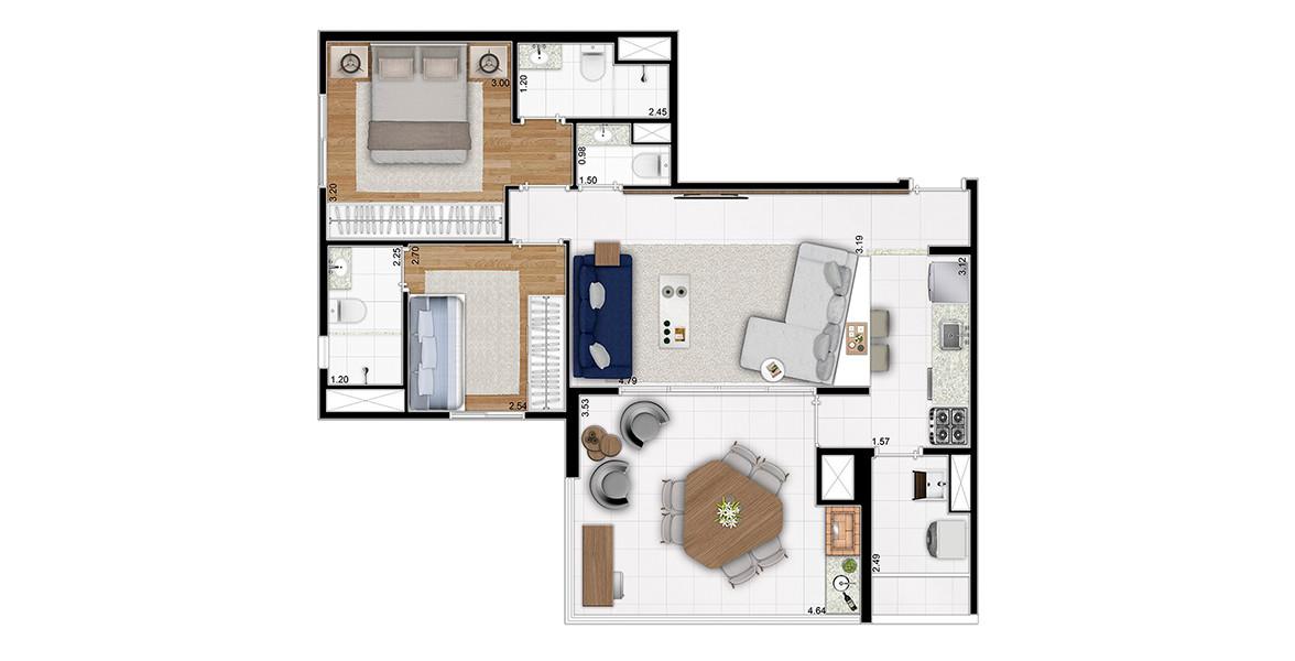Planta do Gaivota 1081. 76  M² - 2 SUÍTES. Apartamento com amplo living com lavabo, integrado ao terraço gourmet com pisos alinhados,  opção de churrasqueira e passagem direta para a cozinha. Além disso, também possui terraço técnico para condensadora.