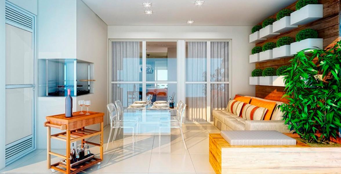 TERRAÇO GOURMET do apto de 80 m², com churrasqueira e passagem direta para a cozinha.