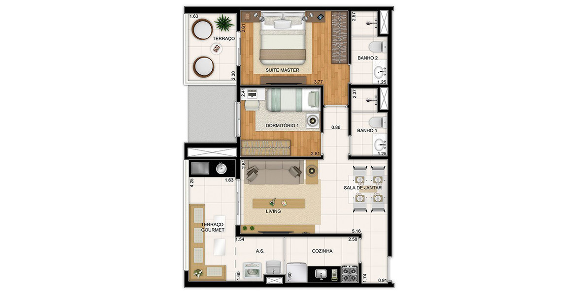 66 M² - 2 DORMS., SENDO 1 SUÍTE. Apartamento tem uma ótima suíte master com terraço íntimo, além do terraço gourmet com churrasqueira.