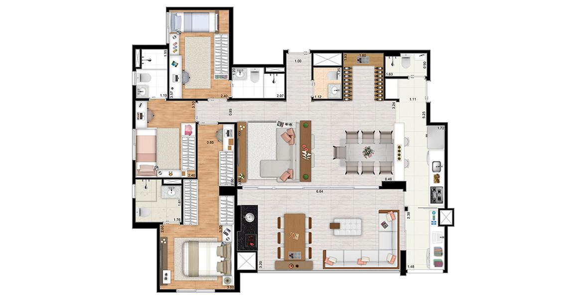 117 M² - 3 SUÍTES. Apartamento com living ampliado, com lavabo, espaço para adega e excelente integração com o terraço gourmet com churrasqueira, que tem passagem direta para a cozinha, sem passar pela lavanderia.