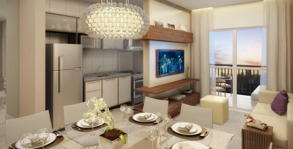 LIVING do apto de 60 m² integrado ao terraço, que tem bom espaço para complementar a sala quando receber suas visitas.