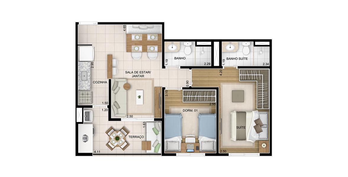 60 M² - 2 DORMS., SENDO 1 SUÍTE. Apto com terraço integrado com a sala e a cozinha. Sala tem um espaço para a mesa de jantar mais reservado.