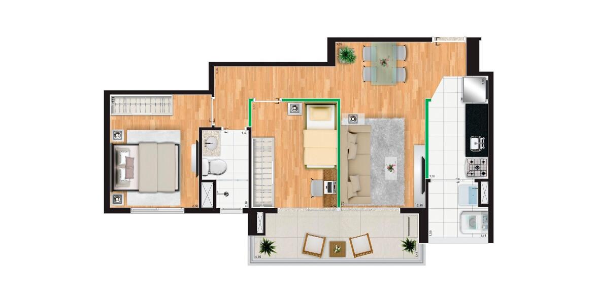 55 M² - 2 DORMS., SENDO 1 SUÍTE. Apto compacto para a família, tem possibilidade de integrar a cozinha ao living e tem um bom terraço, que lhe ajuda a receber bem.