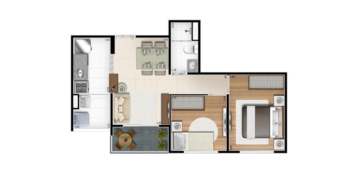 45 M² - 2 DORMS. Apto para casais jovens com um filho, tem um preço atrativo, ideal para quem está comprando o primeiro apartamento.