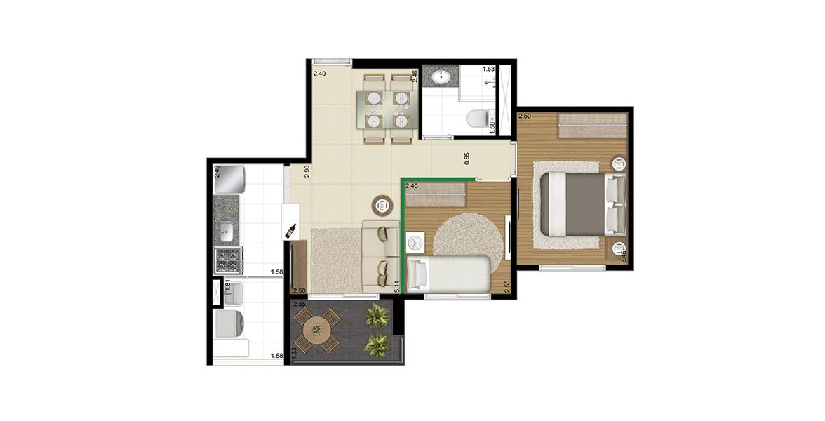 49 M² - 2 DORMS. Apto compacto com 2 dormitórios, cozinha americana e terraço. Devido ao seu tamanho, consegue ter um preço bem atrativo.