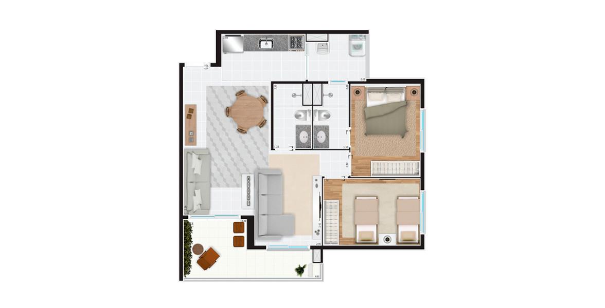 71 M² - 2 DORMS., SENDO 1 SUÍTE. Apto com sala ampliada, é ideal para casais jovens que gostam de receber os amigos. A sala de estar e a sala de TV são confortáveis e ainda tem o apoio do terraço.