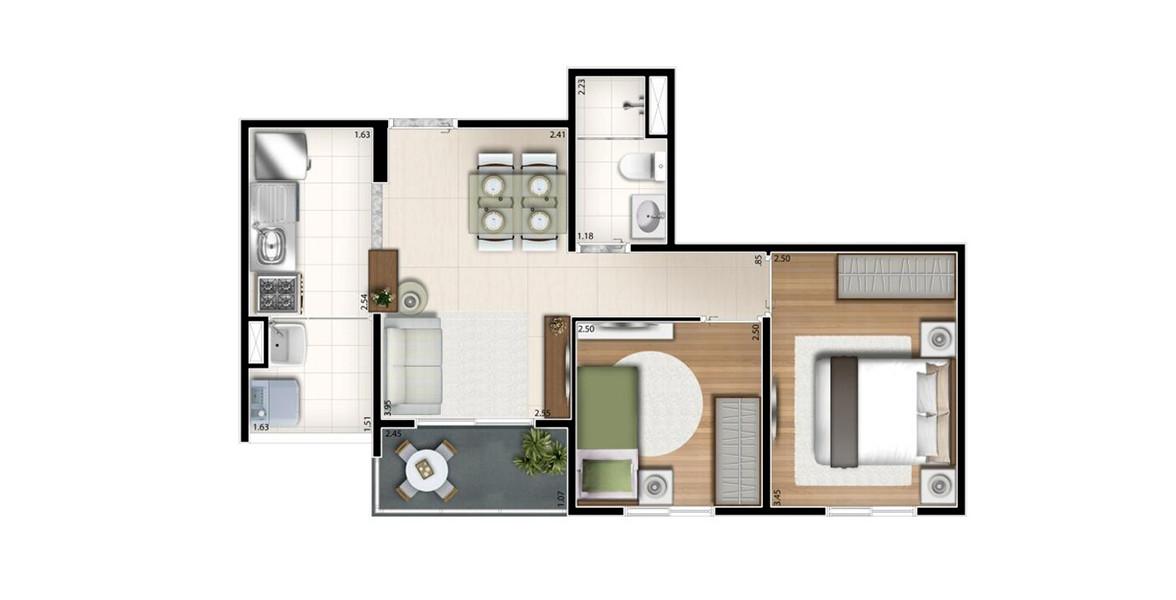 Planta do Story Jaguaré. 45 M² - 2 DORMS. Apto compacto com 2 dormitórios, cozinha americana e terraço. Devido ao seu tamanho, consegue ter um preço bem atrativo.