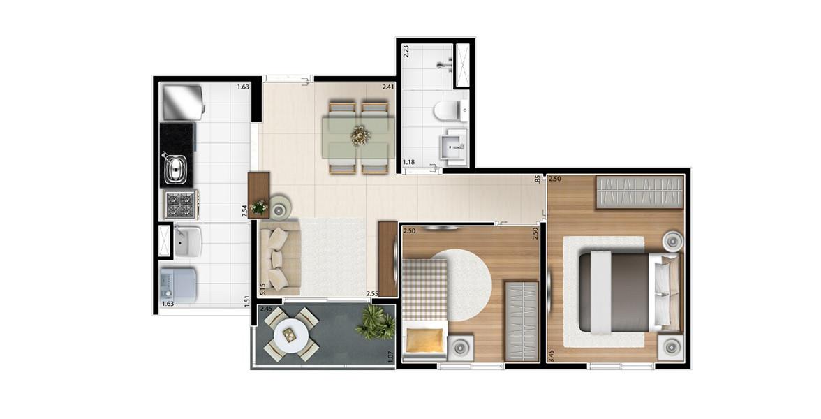 45 M² - 2 DORMS. Apto compacto com 2 dormitórios, cozinha americana e terraço. Devido ao seu tamanho, consegue ter um preço bem atrativo.