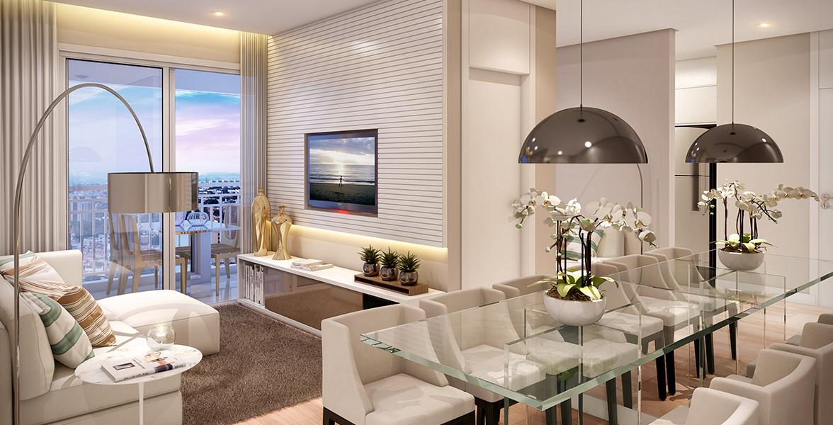 LIVING do apto de 61 m² que tem planta flexível, possibilitando a ampliação da sala de TV.