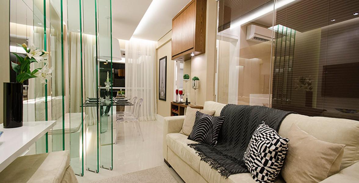 SALA DE ESTAR do apto de 51 m² que ainda pode ser ampliado para criar um estar mais reservado e receber amigos com mais conforto do Único Santana