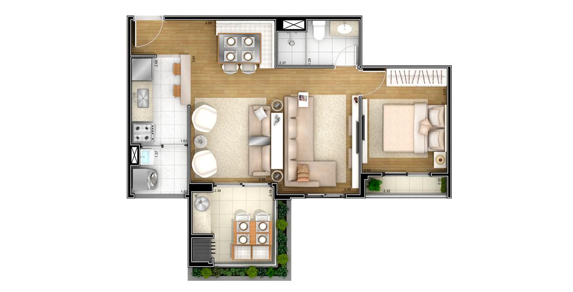 Planta do Único Santana. 52 M² - 1 DORM. Apto com living ampliado, criando 3 ambientes para receber bem, além do terraço com churrasqueira e forno de pizza. A melhor opção para solteiros e casais jovens.
