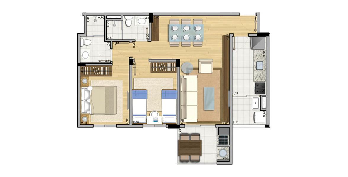 Planta do Actual Casa Verde. 65 M² - 2 DORMS., SENDO 1 SUÍTE. Apartamento na Casa Verde para casais com filhos (ou com pretensão de ter) com terraço gourmet em L, que proporciona maior visão.