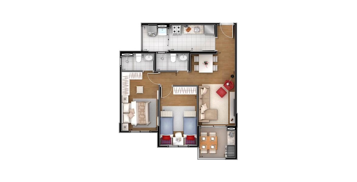 64 M² - 2 DORMS., SENDO 1 SUÍTE. Apto com 2 dormitórios atendidos por 2 banheiros ventilados naturalmente. Tem o living integrado ao terraço gourmet com churrasqueira e forno de pizza.