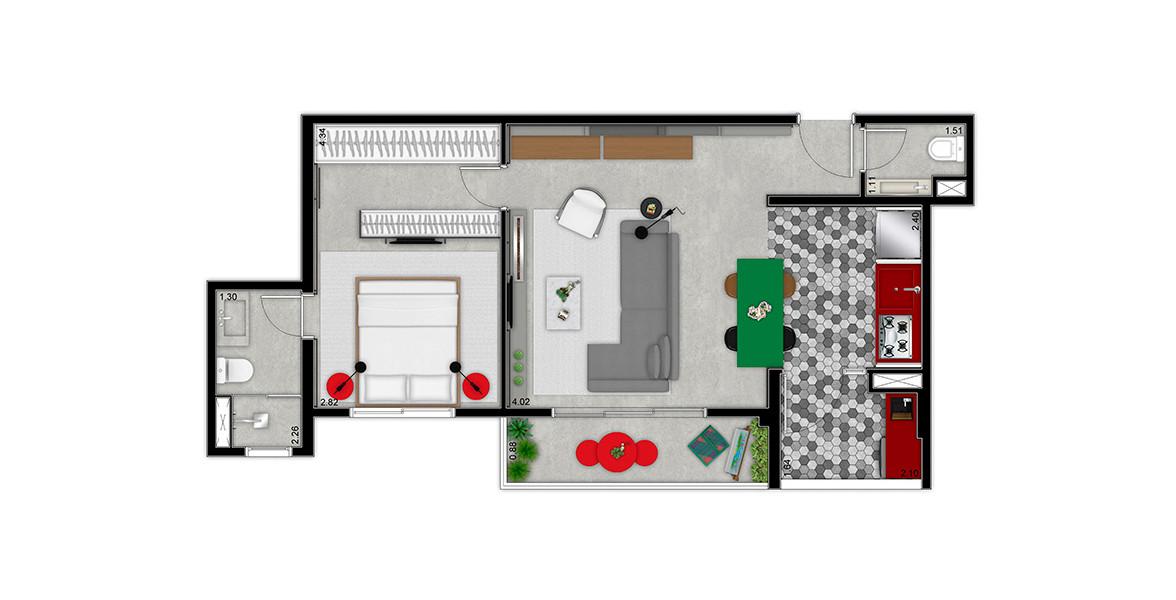 57 M² - 1 SUÍTE. Apto com uma suíte com ampla área para armários. O living com lavabo é amplo e integrado à cozinha.