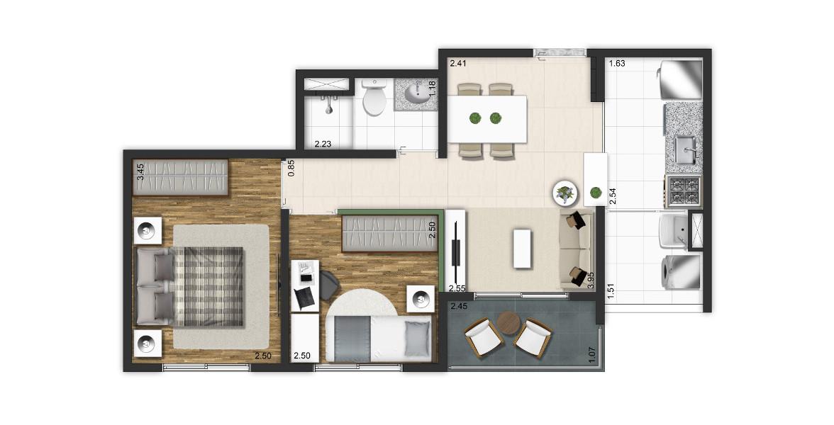 45 M² - 2 DORMS. Apto para a família com até 2 filhos. Tem um espaço claro para a sala de jantar e um bom terraço que pode ser um útil apoio ao living quando você receber visitas.