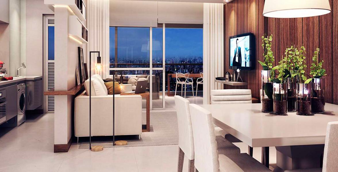 LIVING do apto de 85 m² com ótima integração com o terraço, devido ao amplo caixilho.