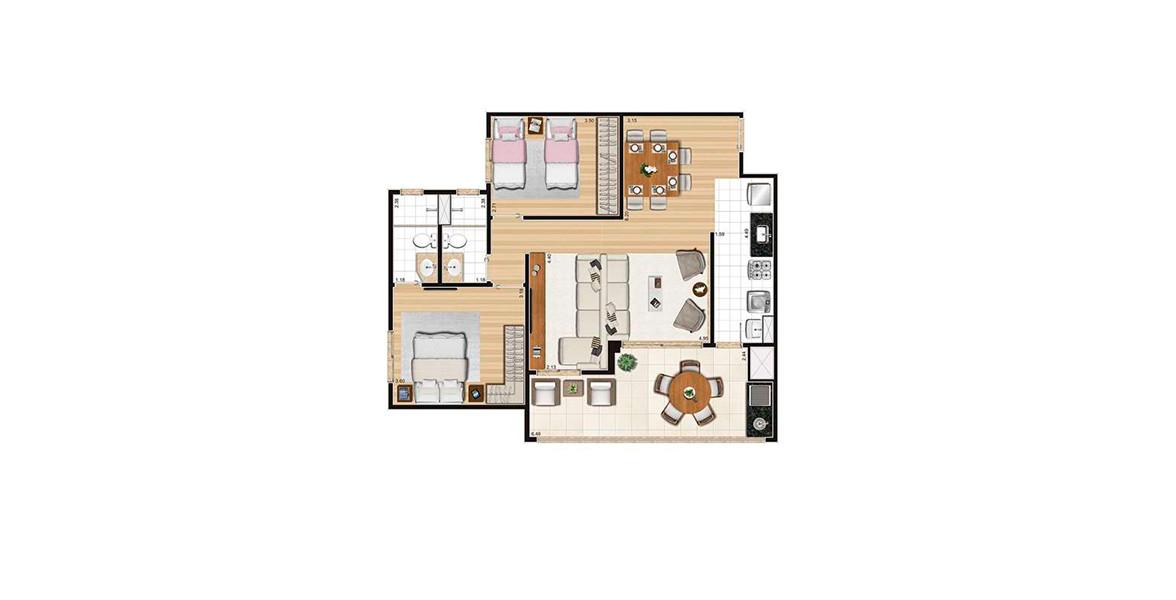85 M² - 2 DORMS., SENDO 1 SUÍTE. Apartamento com living ampliado, integrado ao amplo terraço gourmet com churrasqueira e passagem direta para a cozinha.