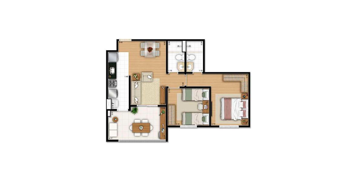 62 M² - 2 DORMS., SENDO 1 SUÍTE. Apto com amplo terraço integrado ao living e com passagem direta para a cozinha, criando uma boa fluidez na área social.