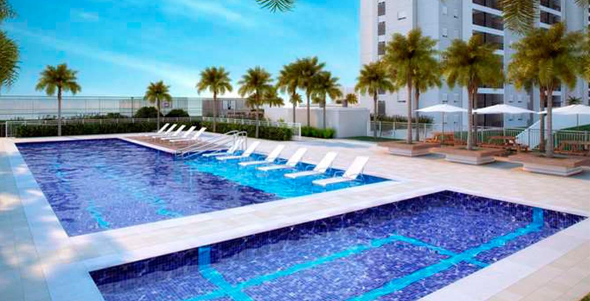 PISCINA com raia de 20 metros, deck molhado e piscina infantil.
