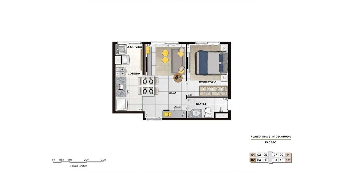 31 M² - 1 DORM. Apartamento compacto, na medida para que está comprando o primeiro. Tem espaço para cozinha americana e uma área de estudos na sala.