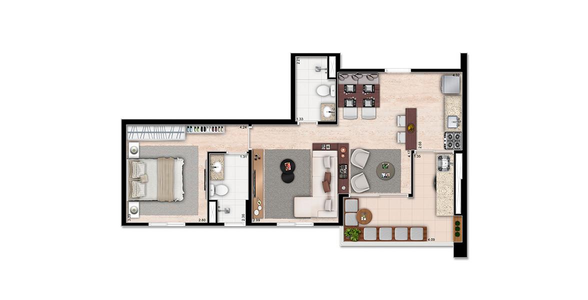Planta do Up Life Interlagos. 60 M² - 1 SUÍTE. Apto com living ampliado, cria uma sala de TV mais reservada e torna o terraço uma extensão natural do estar. O terraço se integra com o living e também com a cozinha.