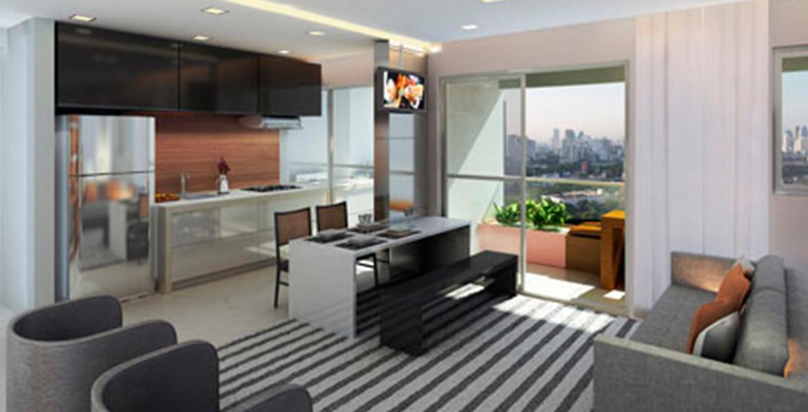 LIVING do apto de 45 m² com cozinha integrada.