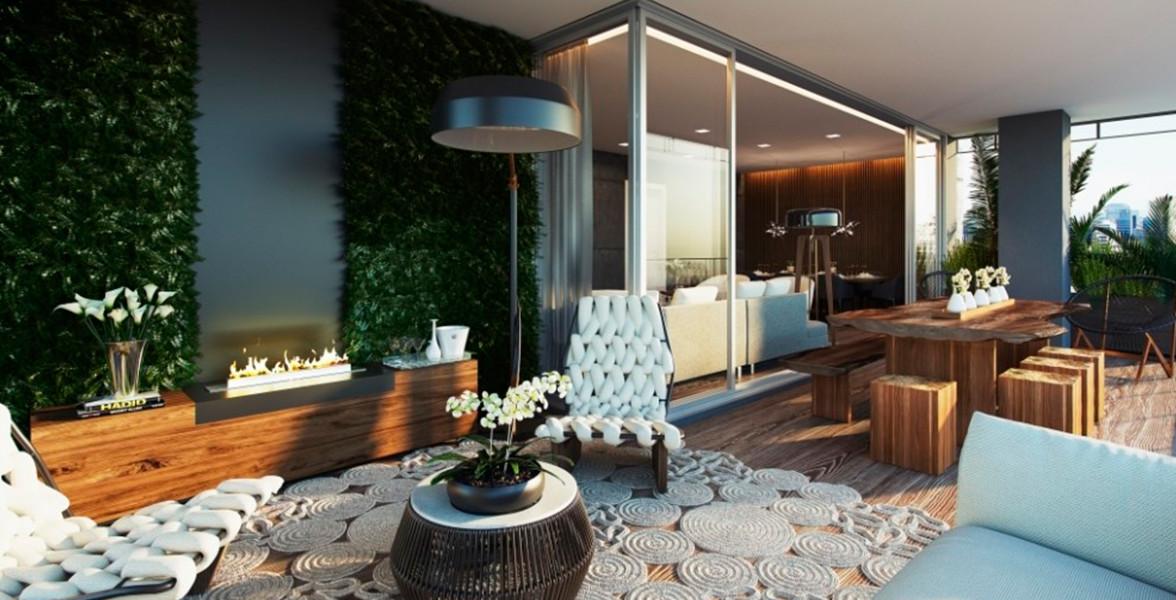 TERRAÇO do apto de 181 m² com excelente integração com o living, devido à amplas portas de vidro, sem travessas horizontais do Artsy Itaim