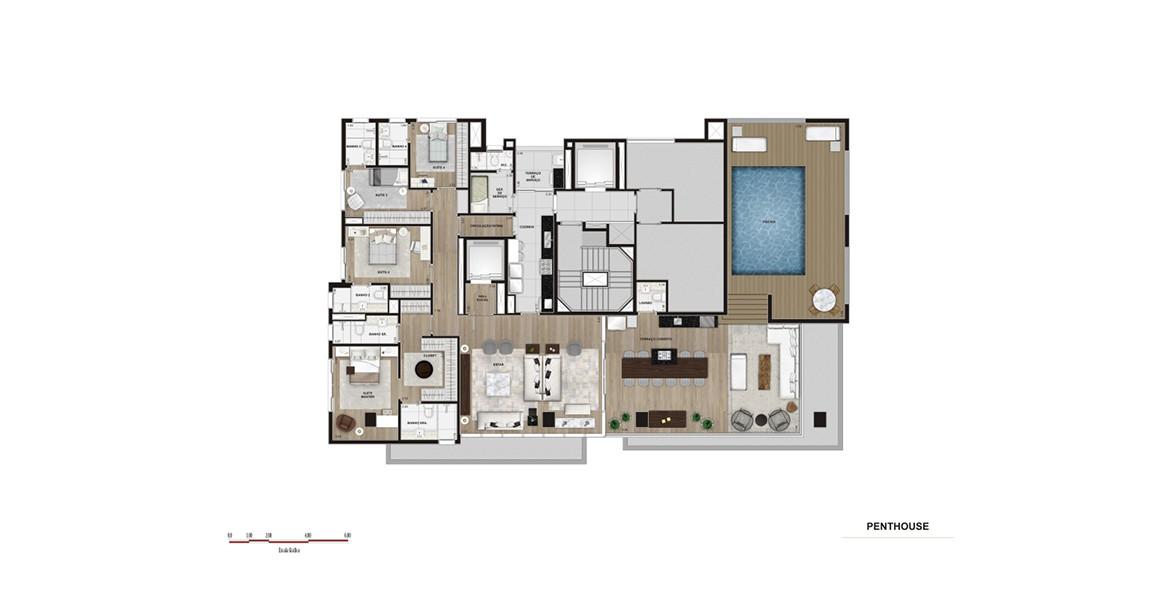 Planta do Artsy Itaim. 315 M² - 4 SUÍTES. Penthouse com living e cozinha envolvidos por 2 terraços, trazendo a cozinha para a área social. Há uma área reservada para a piscina e muito espaço para seu solarium privativo.