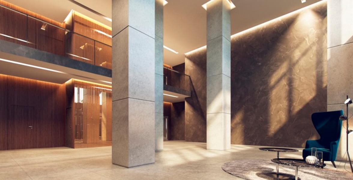 HALL com pé-direito duplo e acabamento de alto padrão, projetado por Claudia Albertini & Chris Silveira Arquitetos.