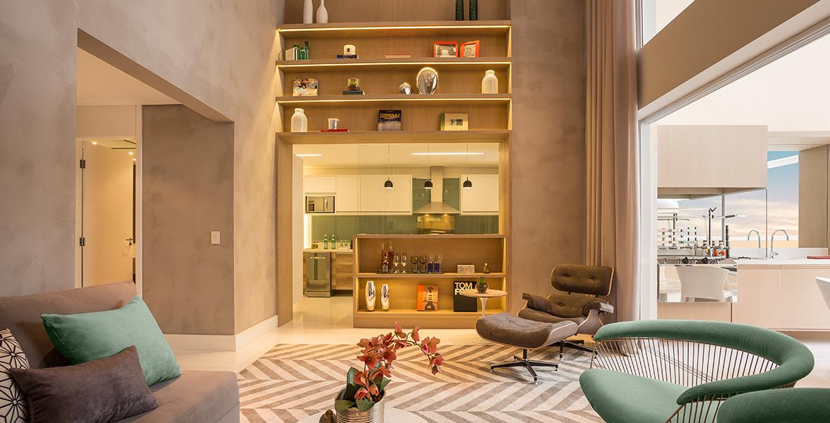LIVING do apto de 163 m² muito bem integrado ao terraço e ao living.