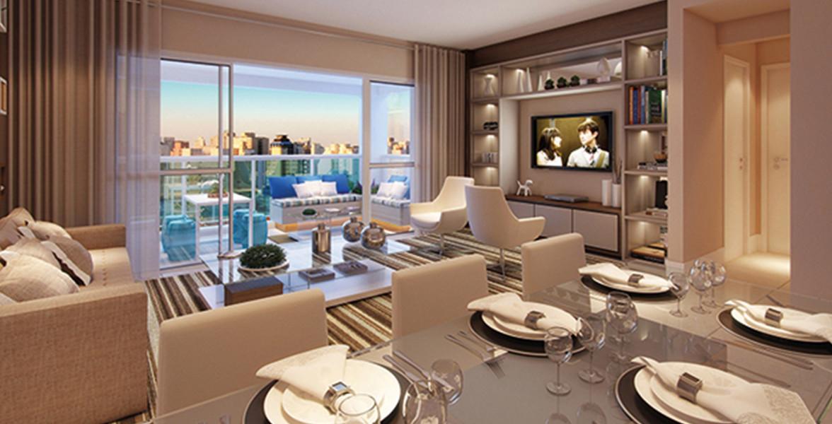 LIVING AMPLIADO do apto de 90 m² com excelente integração com o terraço gourmet, devido às amplas portas de vidro.