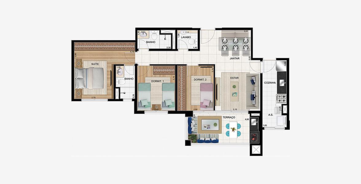 90 M² - 3 DORMS., SENDO 1 SUÍTE. Apto para famílias maiores, com 3 bons dormitórios, sendo uma suíte com ampla área para armário e banheiro ventilado naturalmente.