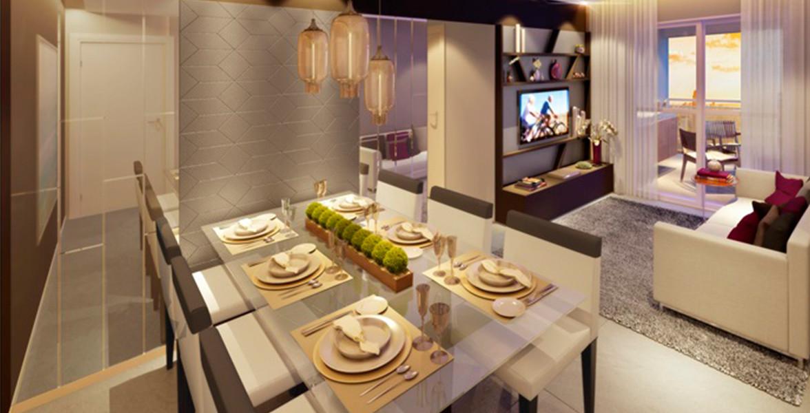LIVING do apto de 64 m² com ambientes bem integrados, tem um bom terraço que apoia Estar do Attitude Home