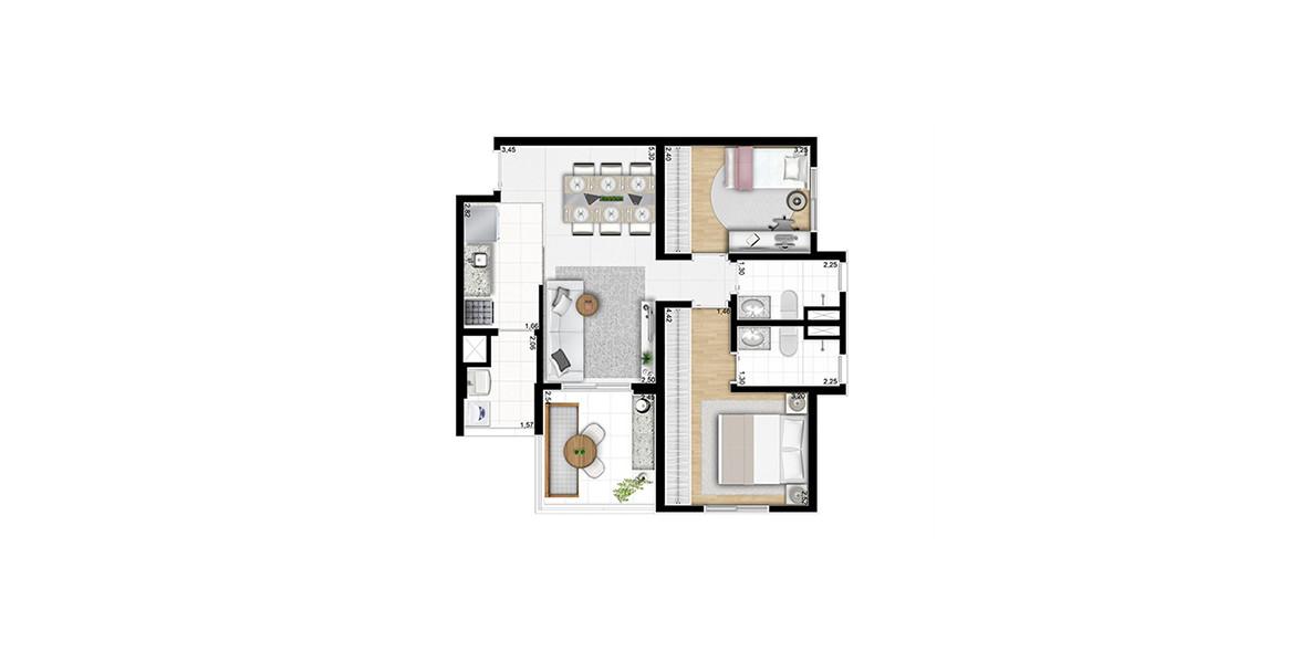 Planta do Attitude Home. 64 M² - 2 DORMS., SENDO 1 SUÍTE. Apartamento com suíte com ampla área para armário e banheiro ventilado e iluminado naturalmente. O terraço serve de apoio ao Estar.