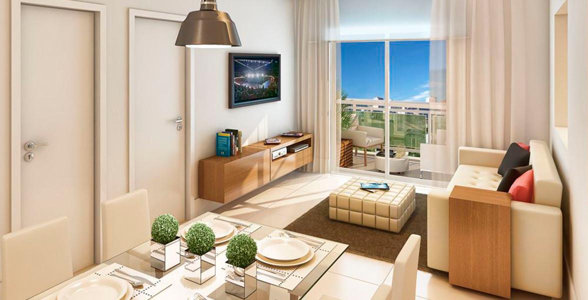LIVING do apto de 39 m² é um apartamento com planta flexível, podendo ser transformado em Studio.