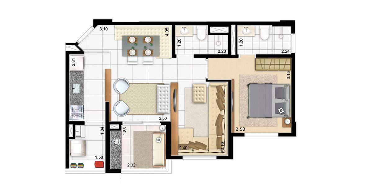 54 M² - 1 SUÍTE. Apto com living ampliado e cozinha americana, tem uma ampla área social, ótima para quem está sempre recebendo os bons amigos.