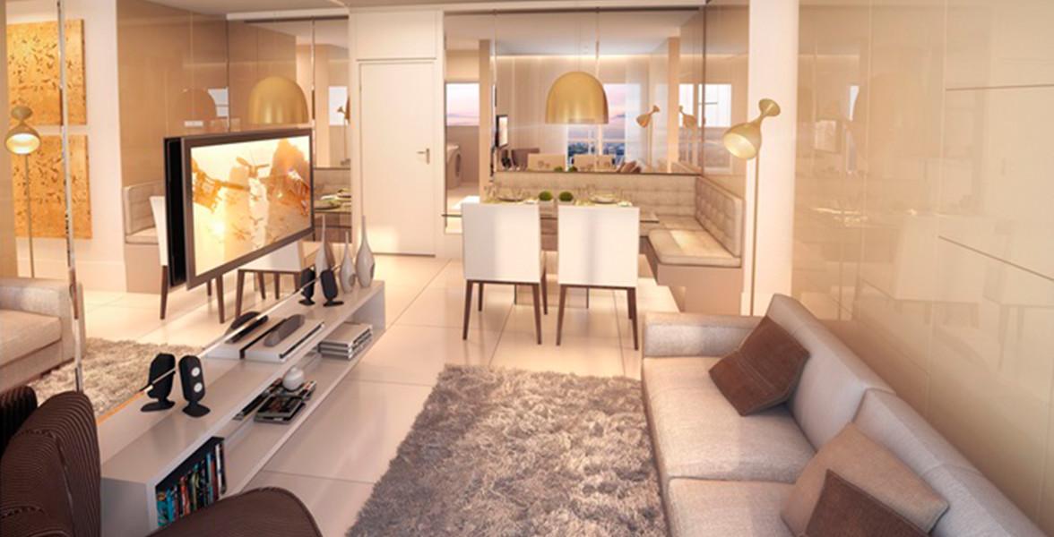 LIVING do apto de 60 m² entregue com infraestrutura para automação e fechadura biométrica.