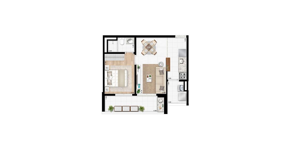 45 M² - 1 SUÍTE. Apto com cozinha americana e amplo terraço com quase 5 metros de frente, acessível pela suíte e pelo living.
