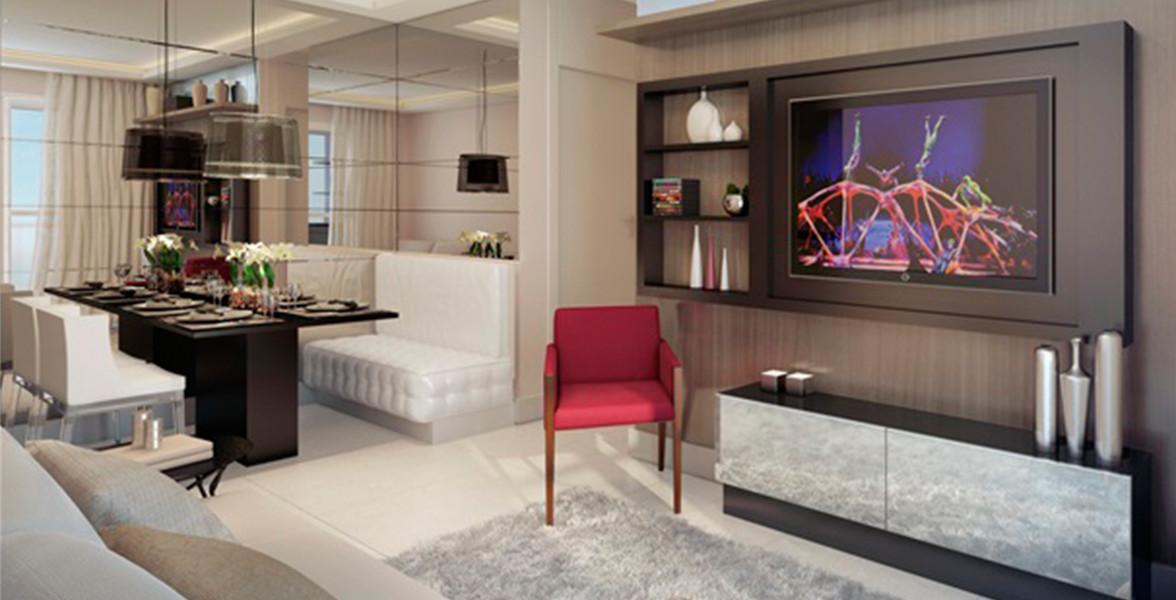 LIVING do apto de 62 m² proporciona uma boa circulação interna, conectando-se ao terraço do PhD Personal Home Design
