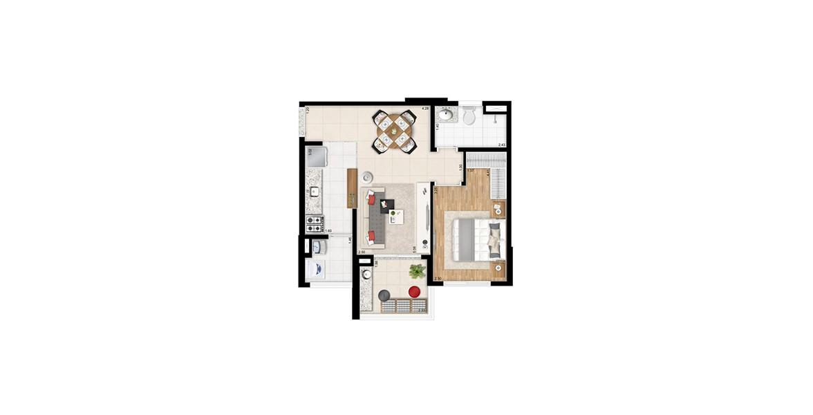 48 M² - 1 DORM. Apto com cozinha americana, tem um dormitório com área para armário bem definida e banheiro com ventilação natural.