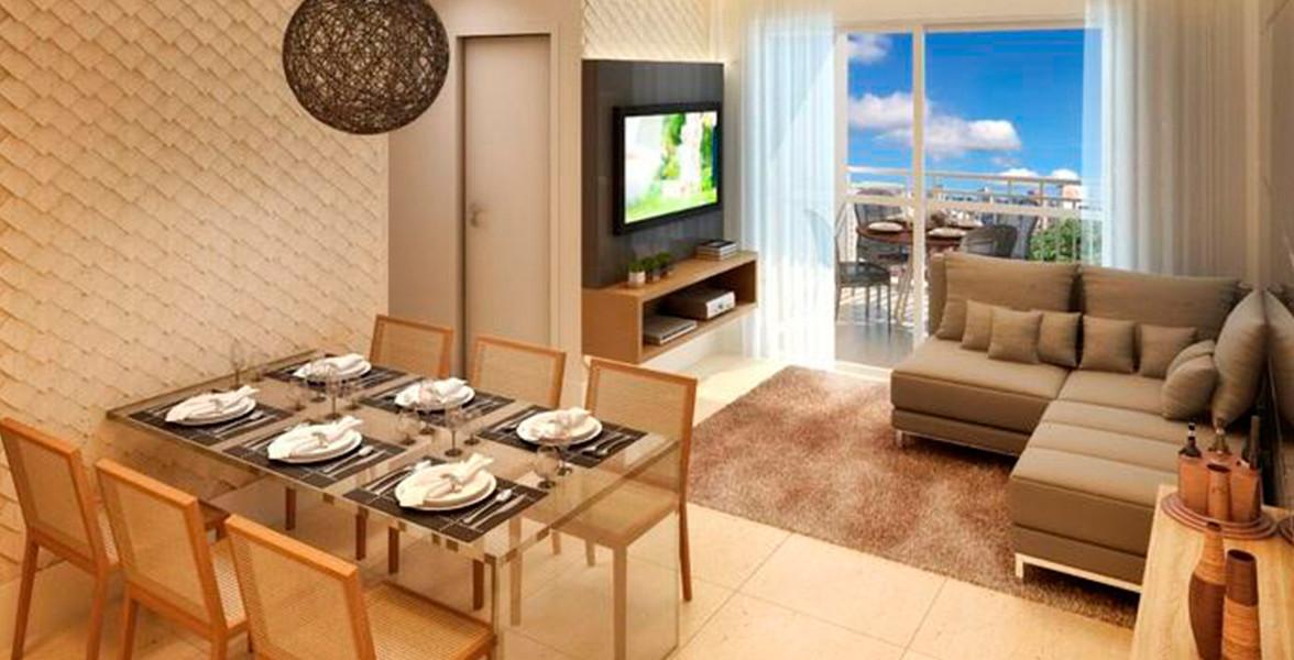LIVING do apto de 61 m² comporta uma mesa para 6 lugares sem aperto e sem atrapalhar a circulação do Sunday Vila Romana