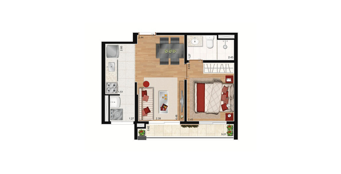 Planta do SP Next Home. floorplan