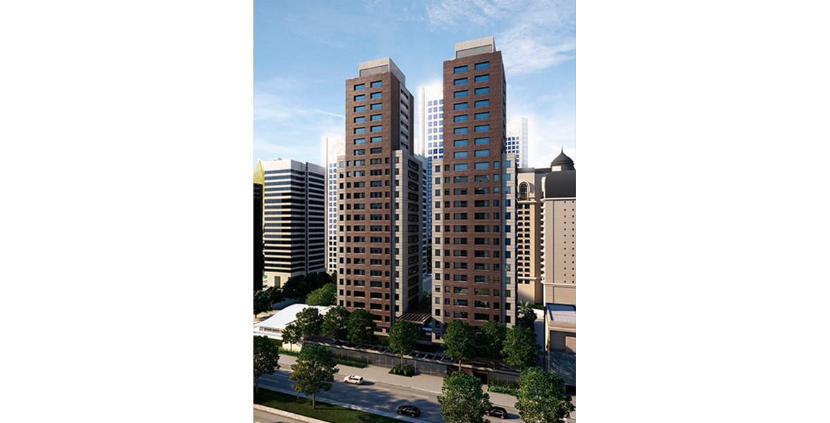 FACHADA das 2 torres com frente para a Av. Berrini. O terreno procura entregar uma bela área verde para os moradores, assim como para o bairro.