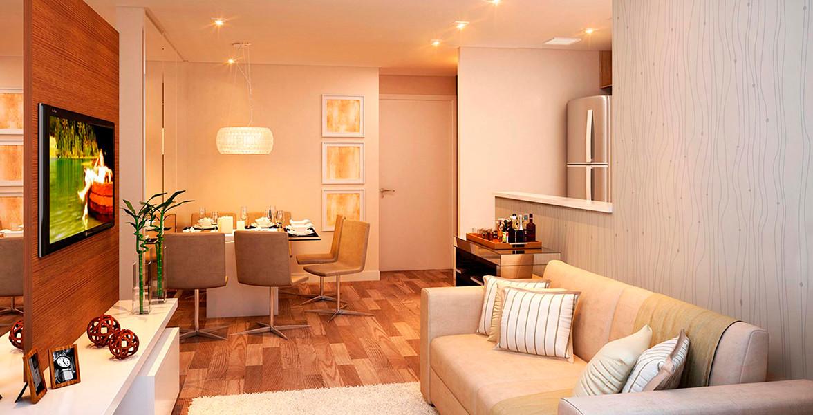 LIVING do apto de 45 m² com cozinha americana do Ello Clube de Viver