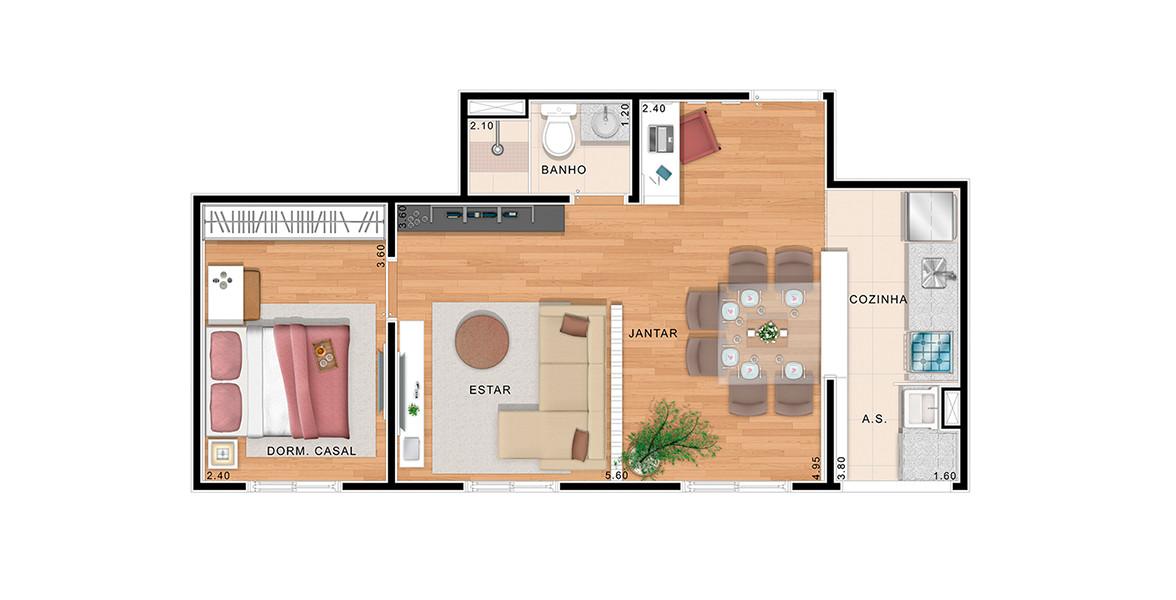 Planta do Ello Clube de Viver. 45 M² - 1 DORM. Apartamento com sala ampliada e cozinha americana, proporciona uma amplitude interna muito boa.