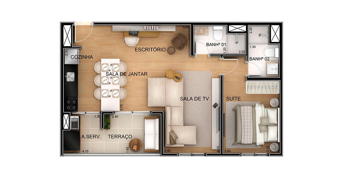 53 M² - 1 DORM. Apartamento com sala ampliada e cozinha integrada. Tem uma suíte exclusiva para o casal.