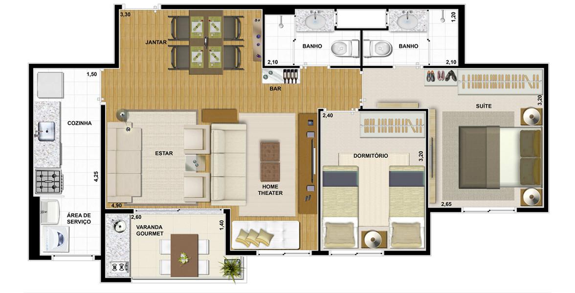 64 M² - 2 DORMS., SENDO 1 SUÍTE. Apartamento com living ampliado, tem uma ótima área para receber com quase 5 metros de boca de sala.