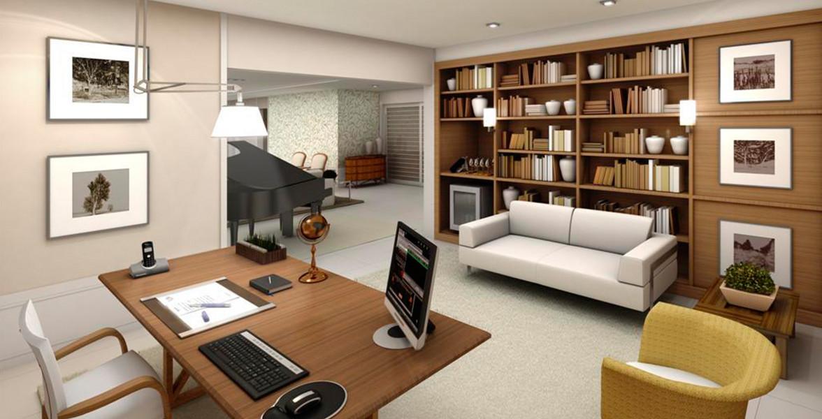 ESCRITÓRIO do apto de 356 m² para você conduzir seus negócios com toda infraestrutura que tem em sua empresa.